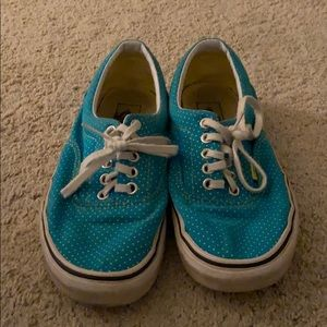 vans blue with yellow polka dot sneakers